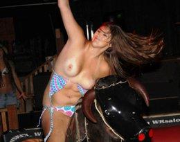 topless mechanical bull ride